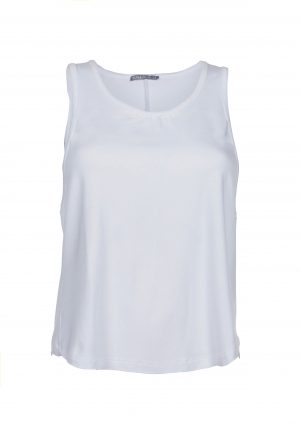 R&R Loose Tie Back Top white