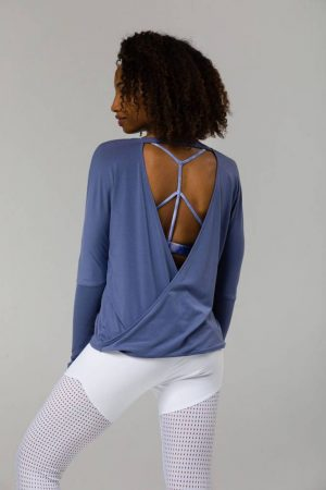 onzie drapey V back slate blue