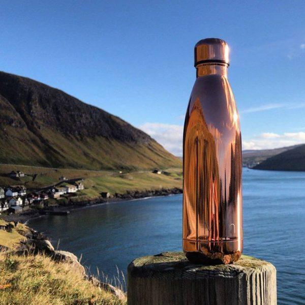 rosa guld flaske stål