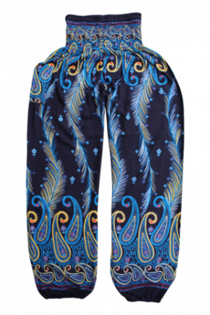 Blue-Feather harem pants bohemian island