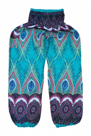 green flare-harem-pants bohemian island