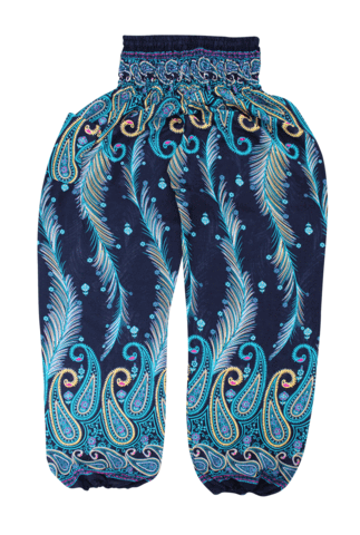 teal-feather-harem-pants