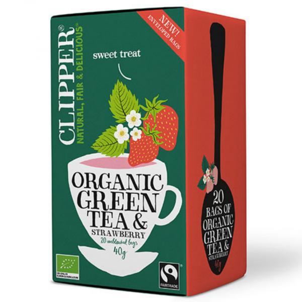 grøn te med jordbær